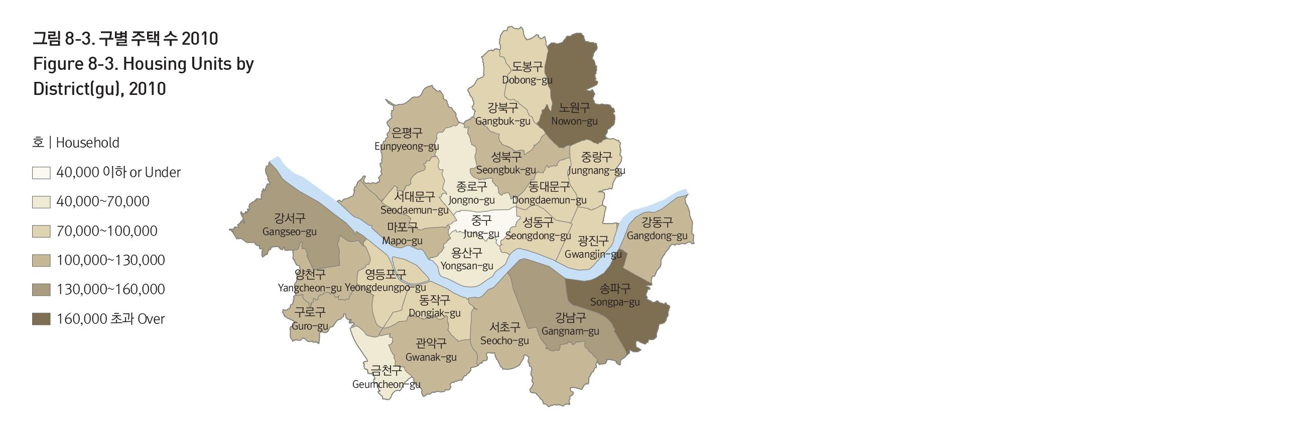 2010년 서울시 구별 주택 수를 보여주는 지도 입니다. 상세데이터는 아래 파일 링크를 통해 다운로드 할 수 있습니다.