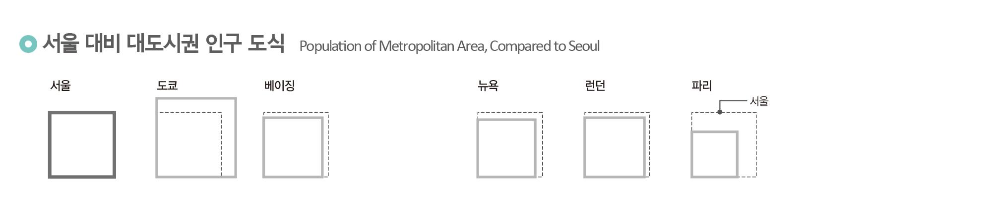 서울 대비 대도시권 인구 도식